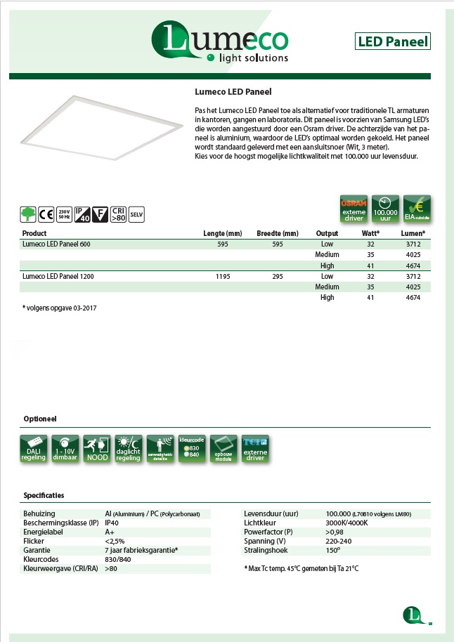 LED paneel product