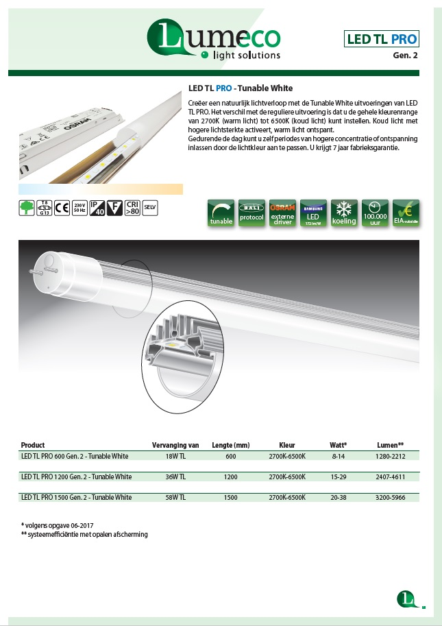 LED TL PRO tunable white leaflet